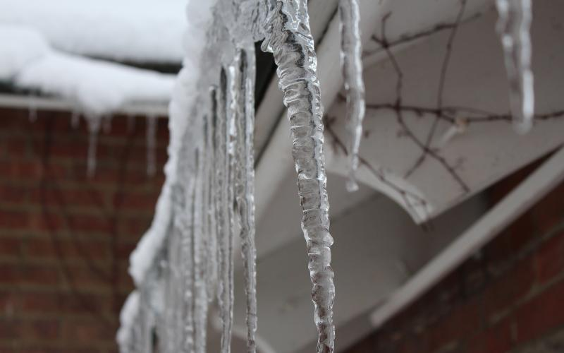 icicles hanging off building