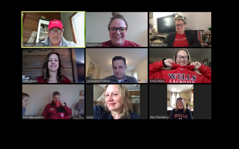 The College's advancement team on a recent video call.