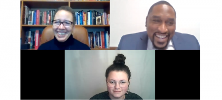 Screenshot from Jan. 13 virtual presentation showing Dr. Beverly Tatum, Andre Lynch, and Serina Sheradin.