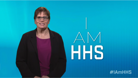 """picture of deb cotter with """"I Am HHS"""" text"""