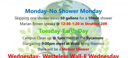 earth week flyer with partial schedule listed below