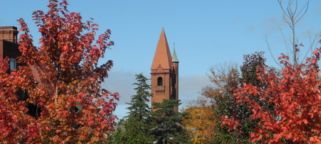 autumn trees and main building bell tower