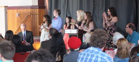 students presenting awards at the honors awards dinner