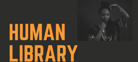 human library graphic with portrait of student