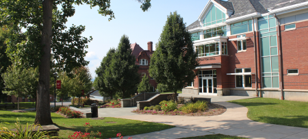 image of stratton hall and campus