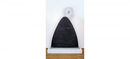 """Over the Mountain"" (1997): Basswood and ceramics; 52"" x 8.5"" x 69.5"""