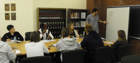 study group in the library