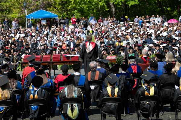Photo of Commencement stage facing the audience