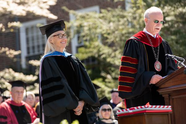 President Gibralter honors Catherine Burroughs with title of Professor of English Emerita