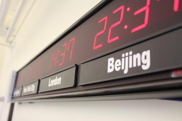 Time listed in Beijing and London