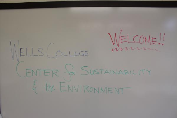 whiteboard with text Welcome to the Center for Sustainability and the Environment