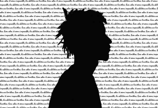 silhouette of man and text