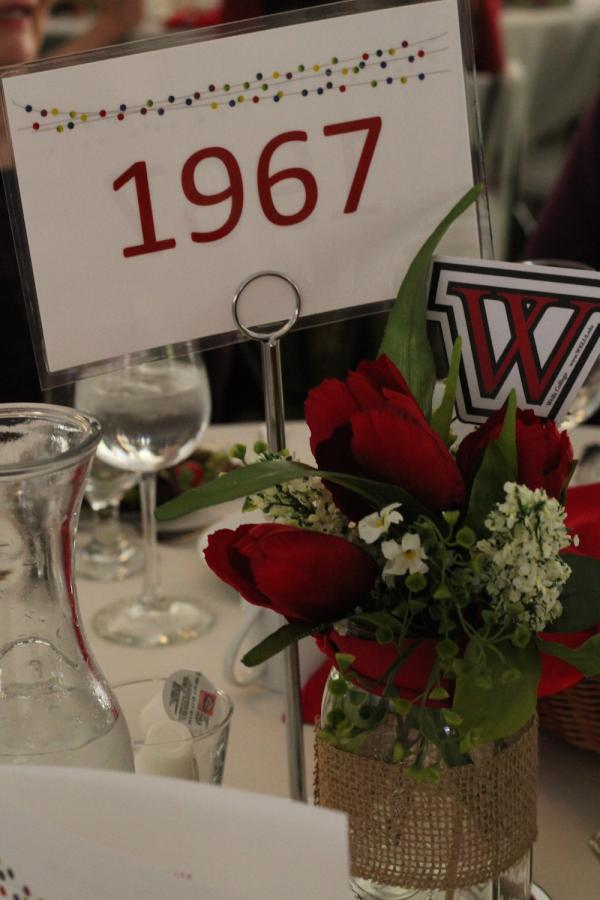 class of 1967 sign on table
