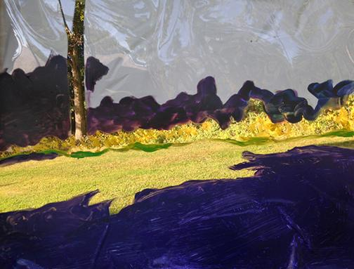painting with purple and white over landscape by Rita Leduc