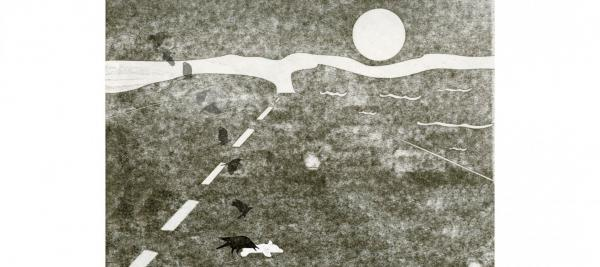 print by jenna rodriguez depicting birds and animals on roadway