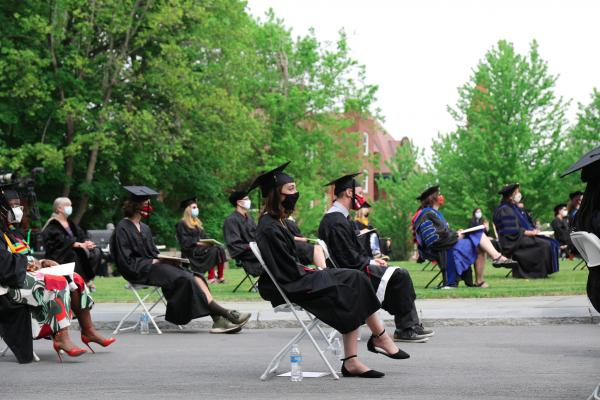 Students listen to the Commencement speaker